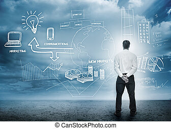 Businessman considering a brainstorm for marketing in cloudy landscape