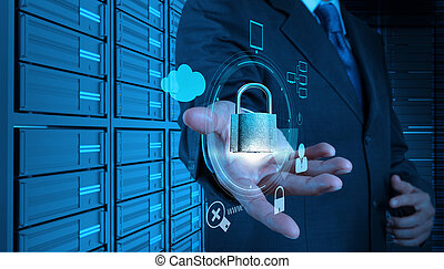 businessman hand showing 3d padlock on touch screen computer as Internet security online business concept
