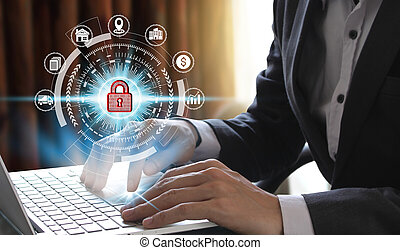 Businessman hand use laptop computer with padlock icon technology