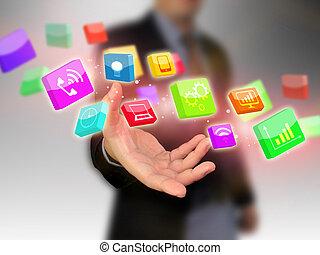 Businessman holding social media icon