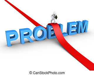 3d businessman is running on path over problem word