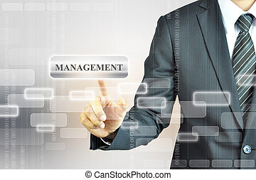 Businessman toching MANAGEMENT sign on virtual screen