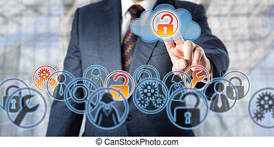 Man unlocking access to managed services by touch. Information technology concept involving enterprise IT strategy, remote monitoring, cloud backup, storage, mobile data access and network security.