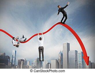 Businessmen falling down toward the economic crisis