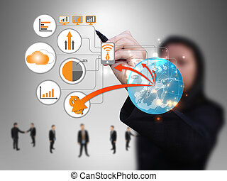 businesswoman design technology network