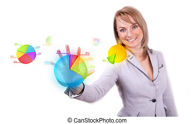 Businesswoman hand pressing pie chart button