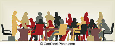 Colorful editable vector foreground silhouette of people in a meeting