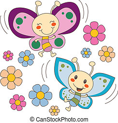 Pink and blue baby butterfly couple flying between spring flowers in love