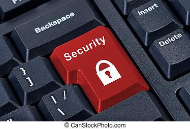 Button keypad security padlock sign.