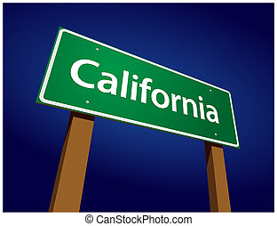 California Green Road Sign Illustration on a Radiant Blue Background.