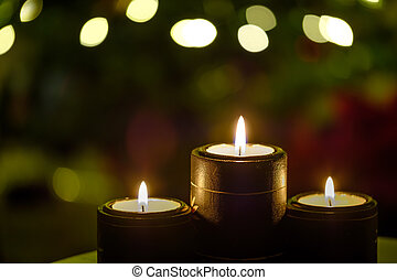 Candles with Background Christmas Tree Lights