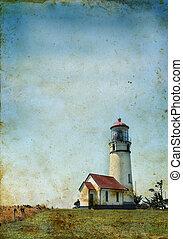 Lighthouse on a grunge background