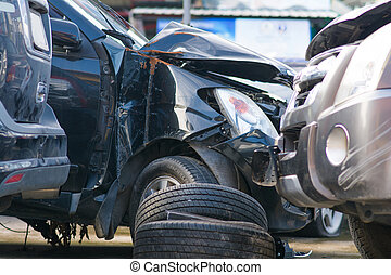 car crash damage from road accident