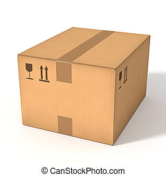 Closed cardboard box isolated on white background. Retail, logistics, delivery and storage concept. Side view with perspective.
