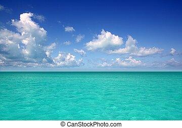 Caribbean sea horizon on blue sky cumulus vacation day perfect paradise