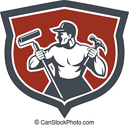 Illustration of a carpenter holding hammer and paint roller looking to side set inside shield crest on isolated background done in retro style.