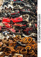 cars on junkyard