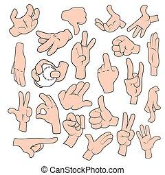 Cartoon Hand gestures in different positions set
