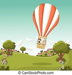 Cartoon kids inside a hot air balloon flying