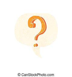 cartoon question mark with speech bubble