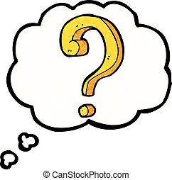 cartoon question mark with thought bubble