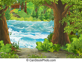 cartoon scene of beautiful shore or beach by the ocean sea or lake near the forest with wooden farm house - illustration for children