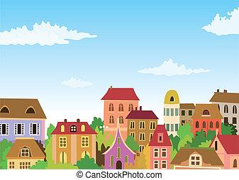cartoon urban scene