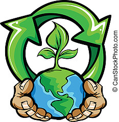 Cartoon Vector Image of a Hands Holding Planet Earth with a green plant and a Recycling Symbol for Earth Day