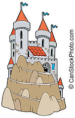 Castle on hill - vector illustration.