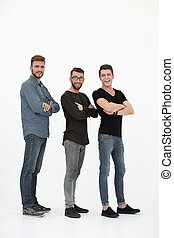 casual group of people in a row on a white background