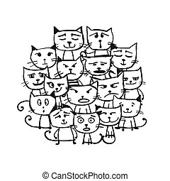 Cats family, sketch for your design