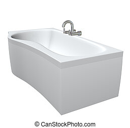 Ceramic or acrylc bath tub set with chrome fixtures and faucet, 3d illustration