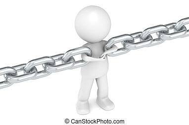 3D little human character holding a chain together. People series.