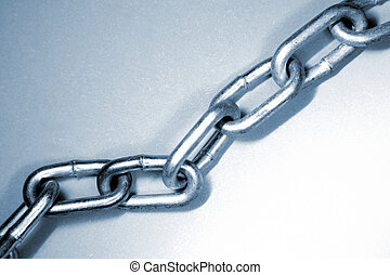 Steel chain links, blue tone