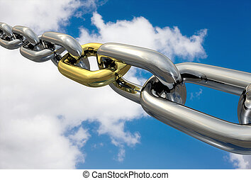 Row of chrome chains with a golden link on a blue sky, isolated