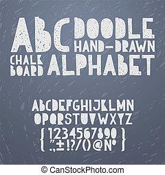 Chalk hand draw doodle abc, alphabet grunge scratch type font vector illustration.