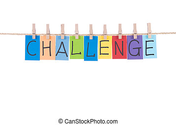 Challenge, paper words card hang by wooden peg