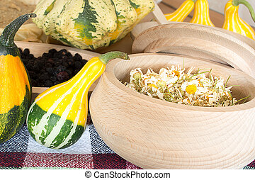 Chamomile with decorative gourds