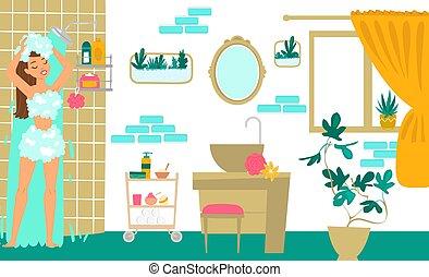 Character female take shower, joyful young girl washes hair cartoon vector illustration. Modern cozy bathroom, woman home body care.