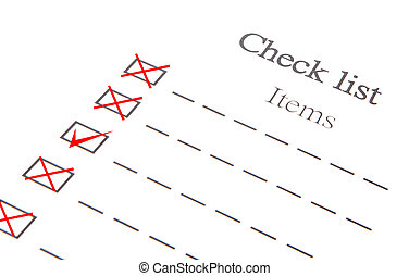 Checklist Item Paper isolated on white background