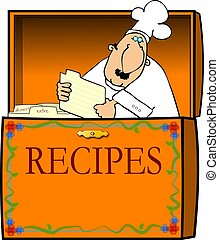 This illustration depicts a chef in a recipe box.