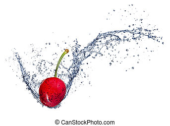 Cherry in water splash, isolated on white background
