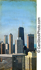Chicago Skyscrapers on a Grunge Background
