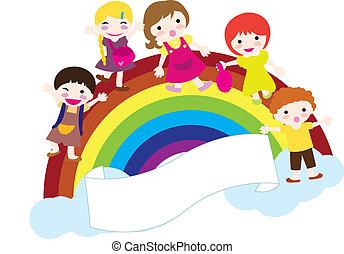 children and rainbow background
