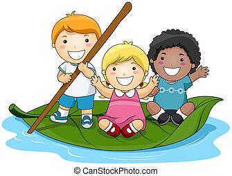 Children on Leaf Boat