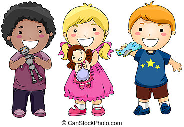 Children with Toys with Clipping Path