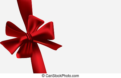 Red bow knotted on a gift card