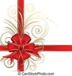 Red christmas bow on a white background