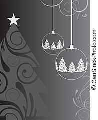 vector illustration of a christmas tree and a christmas baubles