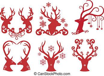 Christmas deer stag heads, vector